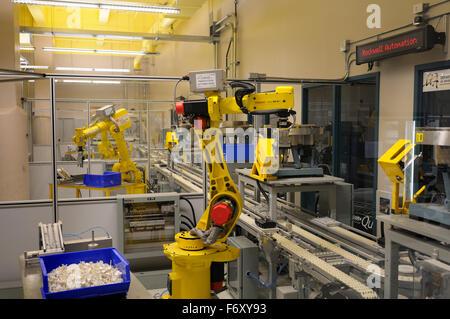 Assembly line robots at Ecole de Technologie Superieure Montreal University Quebec Canada - Stock Photo