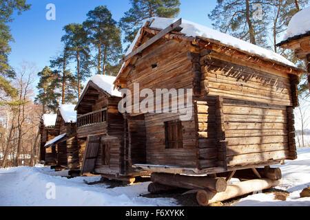 Rustic wooden house in the open-air museum Seurasaari island, Helsinki, Finland - Stock Photo
