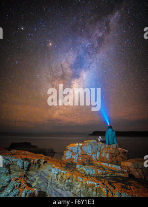 The Milky Way viewed from the pristine Nadgee Wilderness Area - Stock Photo