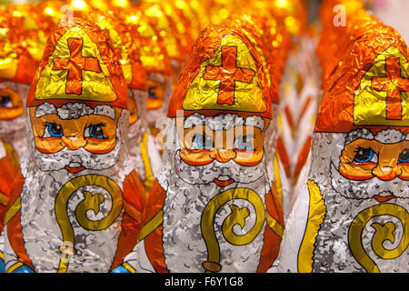 Chocolate figures of Saint Nicholas displayed in a supermarket. - Stock Photo