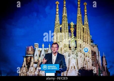 Barcelona, Spain. 21st Nov, 2015. Barcelona, Spain: Spanish Prime Minister and PP's president MARIANO RAJOY addresses - Stock Photo