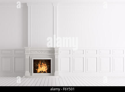 Interior of empty classic white room with marble fireplace 3d rendering - Stock Photo