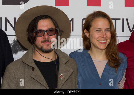 Turin, Italy. 21st Nov, 2015. Filmmakers Corin Hardy (left) and Josephine Decker (right) at Torino Film Festival. - Stock Photo