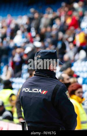 Madrid, Spain. 21st Nov, 2015. Security on high alert during the La Liga football match between Real Madrid and - Stock Photo