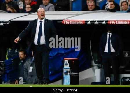 Madrid, Spain. 21st Nov, 2015. Rafa Benitez Coach of Real Madrid During the La Liga football match between Real - Stock Photo