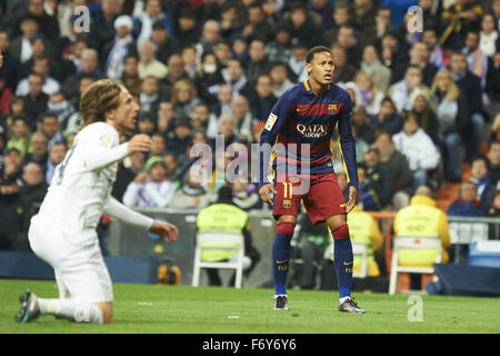 Madrid, Spain. 21st Nov, 2015. Neymar (forward, F.C. Barcelona) in action during La Liga match between Real Madrid - Stock Photo