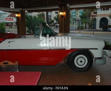Part of a 1956 Chevrolet is used as a display in a restaurant in Veradero, Cuba. - Stock Photo