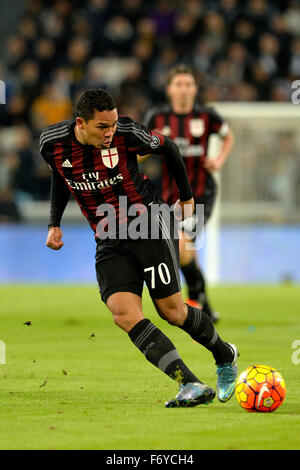 Turin, Italy. 21st Nov, 2015. Serie A Football. Juventus versus AC Milan. Carlos Bacca on the ball Credit:  Action - Stock Photo