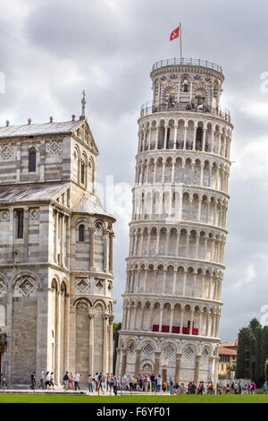 PISA, ITALY - AUGUST 14, 2015: World famous Piazza dei Miracoli in Pisa, Italy (12th century) - Stock Photo