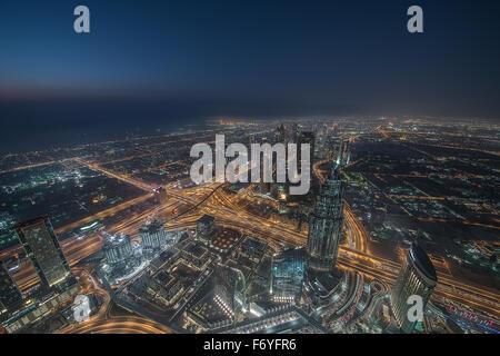 Dubai viewed from Burj Khalifa - Stock Photo