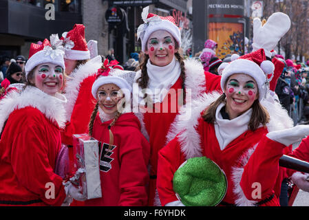 Traditional Santa Claus Parade in downtown Montreal Canada - Stock Photo