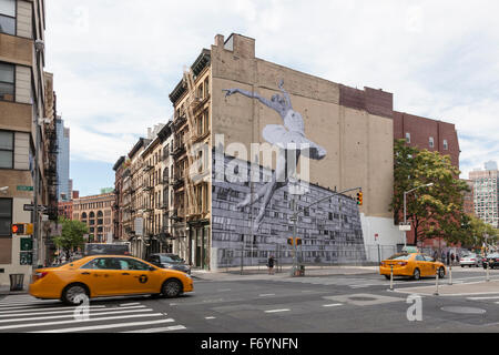 Mural of the ballerina Lauren Lovette, by French street artist JR, on the side of the building at 100 Franklin St, - Stock Photo