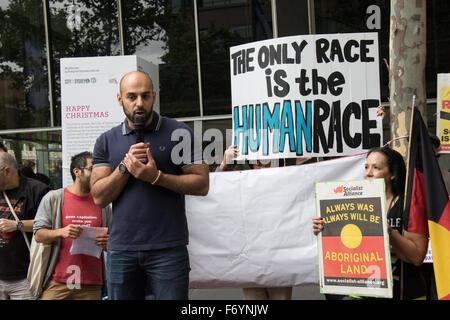 Sydney, Australia. 22nd November 2015. Pictured: Ahmed Aboushabana, husband of Lydia Shelly speaks at the counter - Stock Photo