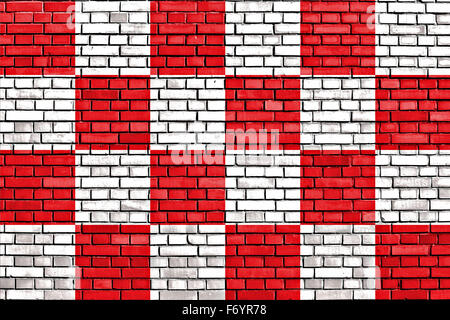 flag of North Brabant painted on brick wall - Stock Photo