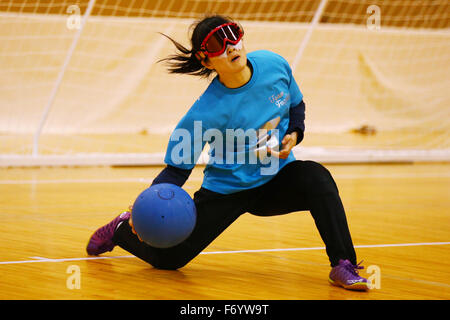 Yuki Tenma NOVEMBER 21, 2015 - Goalball : 2015 Japan Goalball Championships Preliminary round match between Kokureha Ladies Team Musashizuku Team Fuzoku at Ohme City general gymnasium, Tokyo, Japan. Credit:  Shingo Ito/AFLO SPORT/Alamy Live News Stock Photo