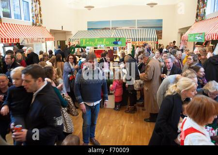 London, UK. 22nd November 2015. Crowds attend this year's Swedish Christmas Market at the Swedish Church. Market - Stock Photo