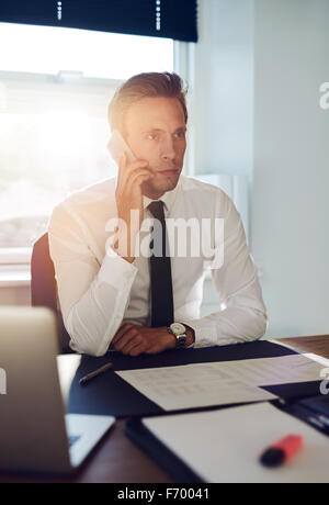Business man having a conversation on the phone at his office - Stock Photo