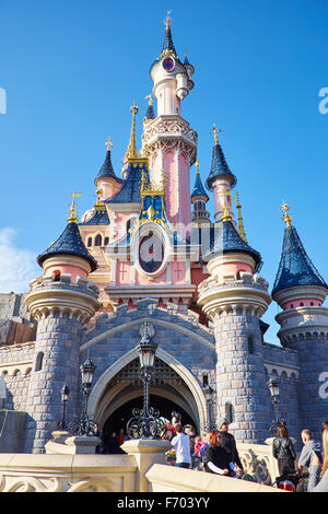 Sleeping Beauty Castle Within Fantasyland Disneyland Paris Marne-la-Vallee Chessy France - Stock Photo