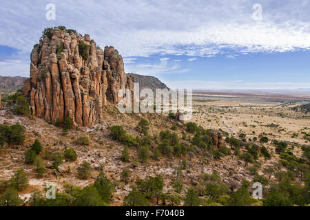 Sierra de Organos rises up from the plains in western Zacatecas, Mexico. - Stock Photo