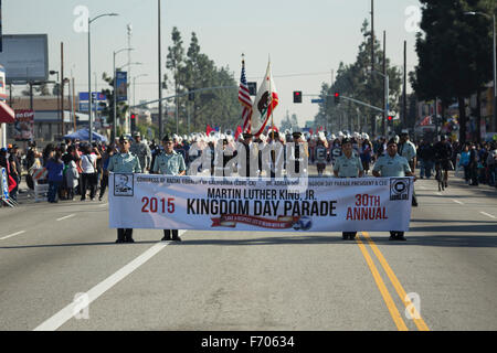 Los Angeles, California, USA, January 19, 2015, 30th annual Martin Luther King Jr. Kingdom Day Parade, parade banner - Stock Photo