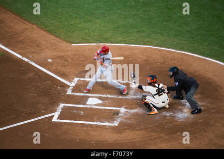 San Francisco, California, USA, October 16, 2014, AT&T Park, baseball stadium, SF Giants versus St. Louis Cardinals, - Stock Photo