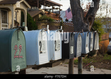 Oak View, California, USA, December 15, mailboxes all lined up - Stock Photo