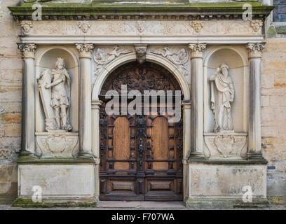 Door in  the Kronborg castle the Helsingor (Elsinore) town, Denmark - Stock Photo