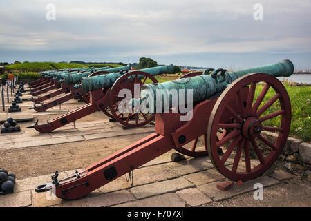 Old  cannons in  the Kronborg castle the Helsingor (Elsinore) town, Denmark - Stock Photo