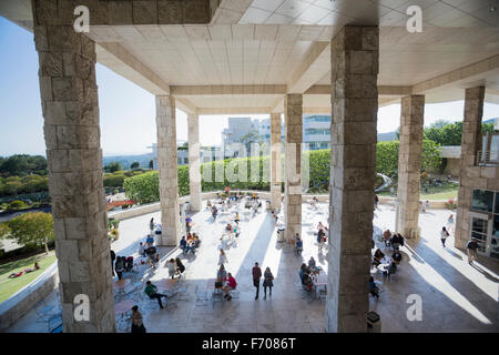 Los Angeles, California, USA, May 24, 2015, Getty Museum, outdoor walkway and columns - Stock Photo