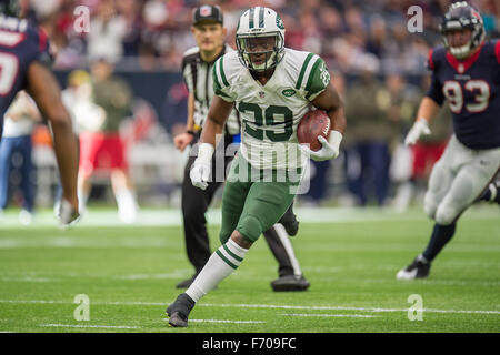 Houston, Texas, USA. 22nd Nov, 2015. New York Jets running back Bilal Powell (29) carries the ball during the 4th - Stock Photo