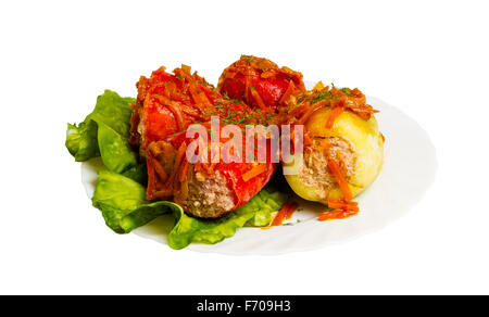 braised cabbage rolls on the plate, isolated on white background - Stock Photo