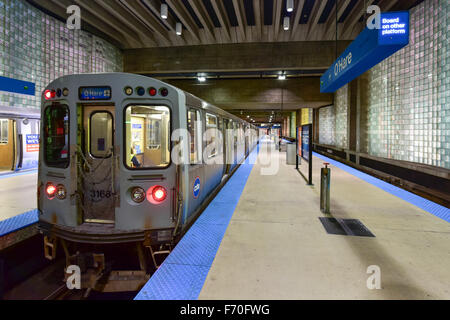 Chicago - September 8, 2015: Subway station leading into O'Hare Airport in Chicago. - Stock Photo