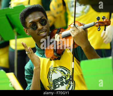 The George Mason pep band, The Green Machine, performs during the NCAA Basketball game between the George Mason - Stock Photo
