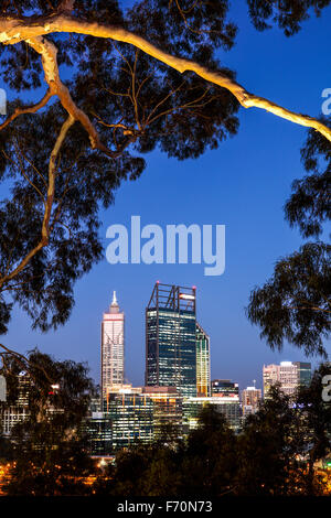 The buildings of Perth from Kings Park and Botanical Gardens. - Stock Photo