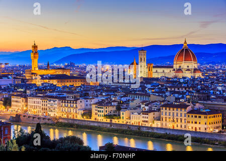 The Cathedral and the Brunelleschi Dome at sunset. Florence, Italy - Stock Photo