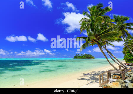 Beach with palm trees over tropical water at Muri lagoon, Rarotonga, Cook Islands - Stock Photo