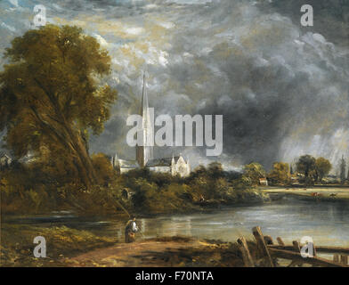 John Constable - Salisbury Cathedral from the Meadows - Stock Photo
