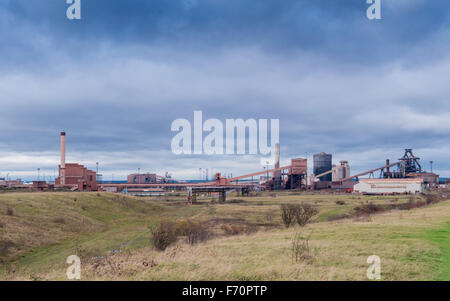 Panorama of Redcar Steelworks in Cleveland England shut down and abandoned November 2015 - Stock Photo