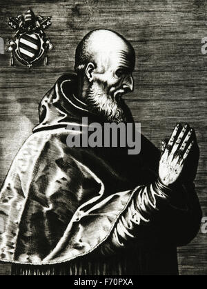 Pope Pius V (1504-1572). Born Antonio Ghisilieri (from 1518 called Michele Ghislieri). Pope from 1566-1572. Portrait. - Stock Photo