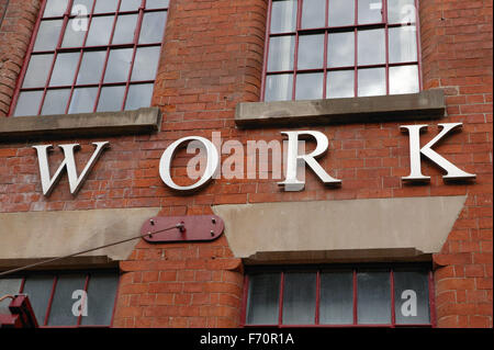 Regeneration of the old building 'Provident Works' in Nottingham with 'Work' sign on the front, - Stock Photo