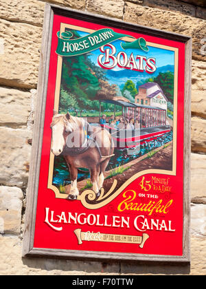 Advertising sign for horse drawn boats in Llangollen Wales UK - Stock Photo