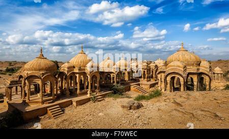Bada Bagh cenotaphs in Jaisalmer, Rajasthan, India - Stock Photo
