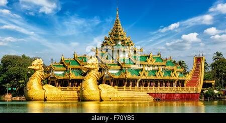 Karaweik royal barge, Kandawgyi Lake, Yangon - Stock Photo