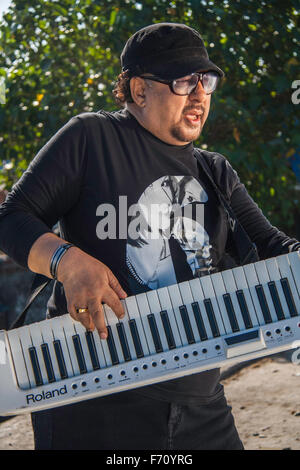 Louis banks playing synthesizer, worli, mumbai, maharashtra, india, asia - Stock Photo