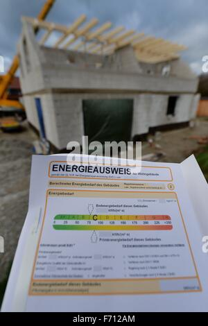 Energypass infront of a construction area for a private house, Germany, near the city of Seesen 19. November 2015. - Stock Photo