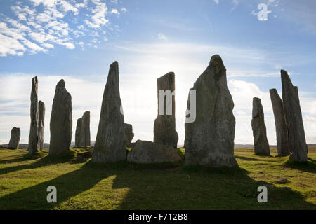 Looking west at the centre of the Callanish (Calanais) Standing Stones prehistoric monument. Isle of Lewis, Scotland, - Stock Photo