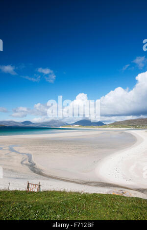 Seilebost beach looking north north east towards Losgaintir and the mountains of North Harris, Outer Hebrides, Scotland, - Stock Photo