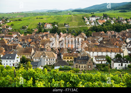 Village in the vineyards, Ribeauvillé, Haut-Rhin, Alsace, France - Stock Photo