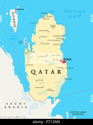 Qatar political map with capital Doha, national borders, important cities, salt pans and reefs. English labeling - Stock Photo