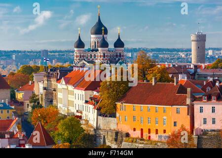 Aerial view old town, Tallinn, Estonia - Stock Photo